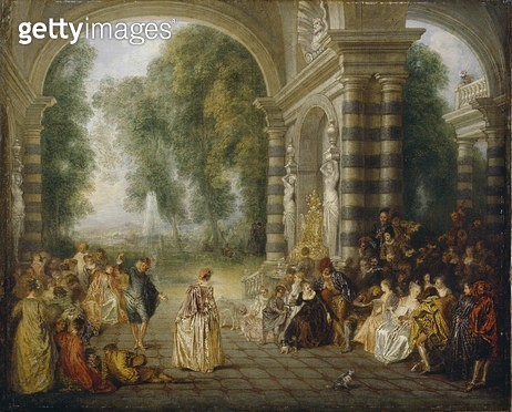 <b>Title</b> : Les Plaisirs du Bal, c.1714<br><b>Medium</b> : oil on canvas<br><b>Location</b> : Dulwich Picture Gallery, London, UK<br> - gettyimageskorea