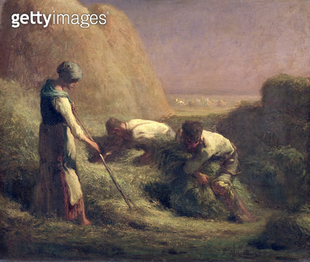 <b>Title</b> : The Hay Trussers, 1850-51 (oil on canvas)<br><b>Medium</b> : oil on canvas<br><b>Location</b> : Louvre, Paris, France<br> - gettyimageskorea