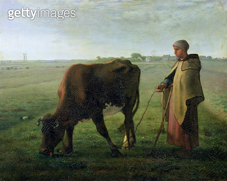 <b>Title</b> : Woman Grazing her Cow, 1858 (oil on canvas)<br><b>Medium</b> : oil on canvas<br><b>Location</b> : Musee de l'Air, Bourg-en-Bresse, France<br> - gettyimageskorea
