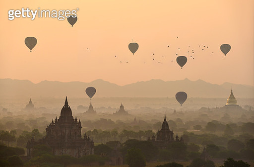 Balloons over the temples of Bagan - gettyimageskorea