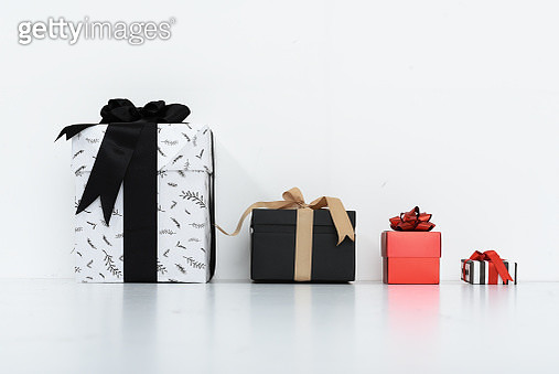 High Angle View Of Christmas Present Over White Background - gettyimageskorea