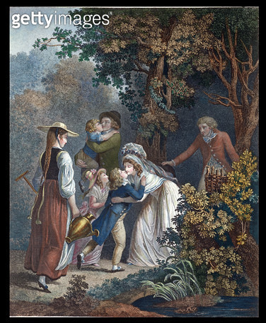 <b>Title</b> : Elysium, late 18th century (colour engraving)Additional Infofamily scene inspired by the writings and ideas of Jean-Jacques Rous<br><b>Medium</b> : <br><b>Location</b> : Institut National de Recherche Pedagogique, Paris, France<br> - gettyimageskorea