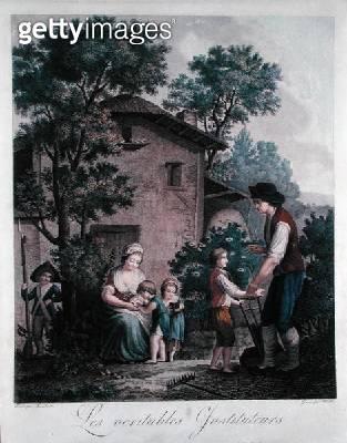 <b>Title</b> : 'Parents are the Real Teachers', late 18th century (colour engraving)Additional InfoLes parents les veritables instituteurs; ins<br><b>Medium</b> : <br><b>Location</b> : Musee National de l'Education, Rouen, France<br> - gettyimageskorea