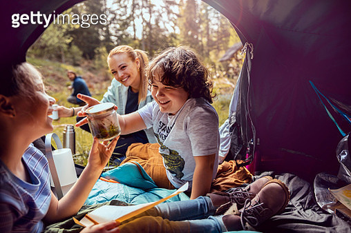 Young family camping - gettyimageskorea