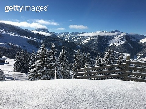 Scenic View Of Snow Covered Mountains Against Sky - gettyimageskorea