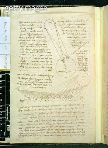 <b>Title</b> : Arundel 263 f.28v: a page of notes on the sun and moon from a notebook partly written in Florence, 1508 (pen & ink on paper)Addi<br><b>Medium</b> : <br><b>Location</b> : British Library, London, UK<br> - gettyimageskorea