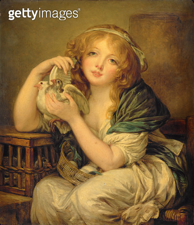Girl with the Doves (after Greuze) - gettyimageskorea