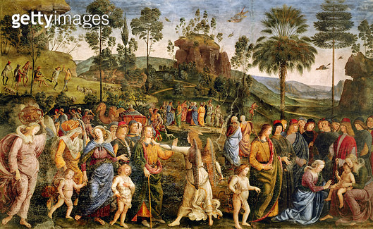 <b>Title</b> : The Journey of Moses, c.1481-83 (fresco)<br><b>Medium</b> : fresco<br><b>Location</b> : Vatican Museums and Galleries, Vatican City, Italy<br> - gettyimageskorea