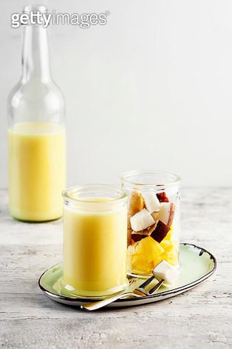 Coconut smoothie,Detox juice,Mango Coconut yogurt smoothie - gettyimageskorea