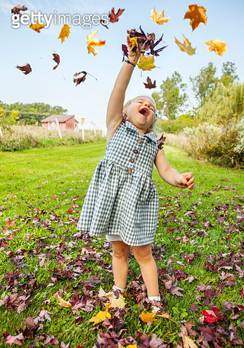 Little girl playing in leaves, discovering the splendor of Autumn - gettyimageskorea