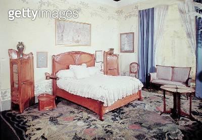 <b>Title</b> : Art Nouveau bedroom, c.1900 (photo)Additional Infochambre a coucher, vue cote lit;<br><b>Medium</b> : <br><b>Location</b> : Musee des Arts Decoratifs, Paris, France<br> - gettyimageskorea