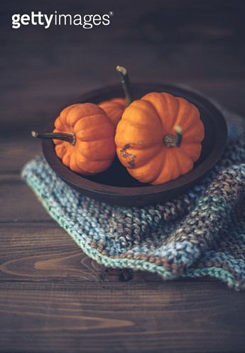 Thanksgiving still life with rustic setting of miniature pumpkins on wood tabletop - gettyimageskorea