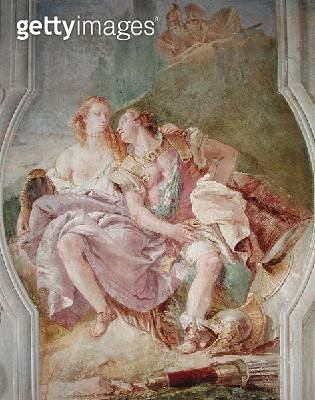 <b>Title</b> : Rinaldo Enchanted by Armida, from 'Gerusalemme Liberata' by Torquato Tasso (1544-95) 1757 (fresco)<br><b>Medium</b> : fresco<br><b>Location</b> : Villa Valmarana, Vicenza, Italy<br> - gettyimageskorea