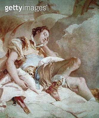 <b>Title</b> : Armida Adbucting the Sleeping Rinaldo, detail of Rinaldo, from 'Gerusalemme Liberata' by Torquato Tasso (1544-95) 1757 (fresco)<br><b>Medium</b> : <br><b>Location</b> : Villa Valmarana, Vicenza, Italy<br> - gettyimageskorea