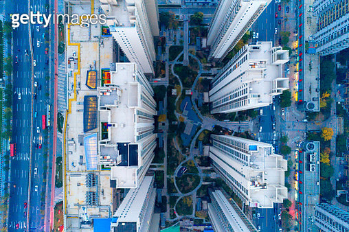 Aerial view of residential building - gettyimageskorea