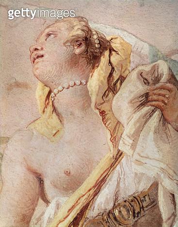 <b>Title</b> : Rinaldo Abandoning Armida, detail of Armida, from 'Gerusalemme Liberata' by Torquato Tasso (1544-95), 1757 (fresco)<br><b>Medium</b> : <br><b>Location</b> : Villa Valmarana, Vicenza, Italy<br> - gettyimageskorea