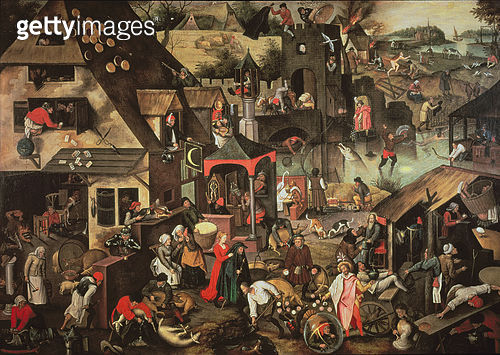 <b>Title</b> : Flemish proverbsAdditional Infocopy of painting by his father Pieter Brueghel the Elder of 1559;<br><b>Medium</b> : <br><b>Location</b> : Private Collection<br> - gettyimageskorea