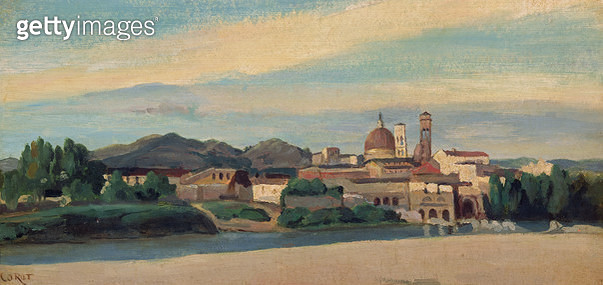 <b>Title</b> : View of an Italian Village (oil)<br><b>Medium</b> : oil<br><b>Location</b> : Private Collection<br> - gettyimageskorea