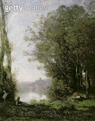 <b>Title</b> : The Goatherd beside the Water (oil on canvas)Additional InfoLe Chevriere au bord l'eau;<br><b>Medium</b> : oil on canvas<br><b>Location</b> : Private Collection<br> - gettyimageskorea