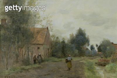 <b>Title</b> : Sin near Douai, Village Street in the Morning, Grey Weather, 1872 (oil on canvas)Additional InfoSin Pres de Douai, Rue de Villag<br><b>Medium</b> : oil on canvas<br><b>Location</b> : Private Collection<br> - gettyimageskorea