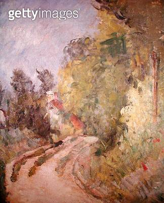 <b>Title</b> : Road Turning under Trees, c.1873-75 (oil on canvas)<br><b>Medium</b> : oil on canvas<br><b>Location</b> : Private Collection<br> - gettyimageskorea