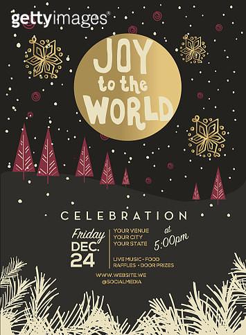 Joy to the world winter scene with moon celebration invitation - gettyimageskorea