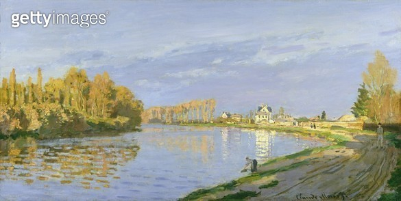 <b>Title</b> : The Seine at Bougival, 1872 (oil on canvas)<br><b>Medium</b> : oil on canvas<br><b>Location</b> : Private Collection<br> - gettyimageskorea