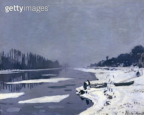 <b>Title</b> : Ice on the Seine at Bougival, c.1864-69 (oil on canvas)<br><b>Medium</b> : oil on canvas<br><b>Location</b> : Musee d'Orsay, Paris, France<br> - gettyimageskorea