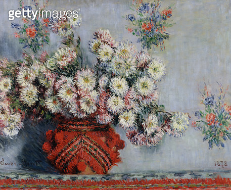 <b>Title</b> : Chrysanthemums, 1878 (oil on canvas)<br><b>Medium</b> : oil on canvas<br><b>Location</b> : Musee d'Orsay, Paris, France<br> - gettyimageskorea