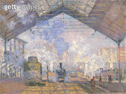 <b>Title</b> : The Gare St. Lazare, 1877 (oil on canvas)<br><b>Medium</b> : oil on canvas<br><b>Location</b> : Musee d'Orsay, Paris, France<br> - gettyimageskorea