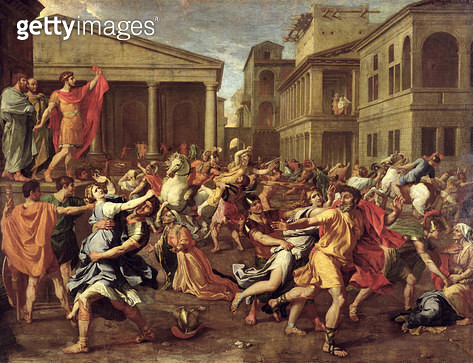 <b>Title</b> : The Rape of the Sabines, c.1637-38 (oil on canvas)<br><b>Medium</b> : oil on canvas<br><b>Location</b> : Louvre, Paris, France<br> - gettyimageskorea