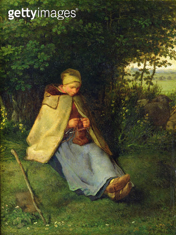 <b>Title</b> : A Knitter or a Seated Shepherdess Knitting, 1858-60 (oil on canvas)Additional InfoLa Tricoteuse ou Une Bergere Assise, Tricotant<br><b>Medium</b> : oil on canvas<br><b>Location</b> : Louvre, Paris, France<br> - gettyimageskorea