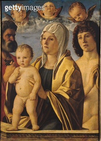 <b>Title</b> : The Virgin and Child with St. Peter and St. Sebastian, c.1487 (oil on panel)Additional InfoLa Vierge et l'Enfant entre Saint Pie<br><b>Medium</b> : oil on panel<br><b>Location</b> : Louvre, Paris, France<br> - gettyimageskorea