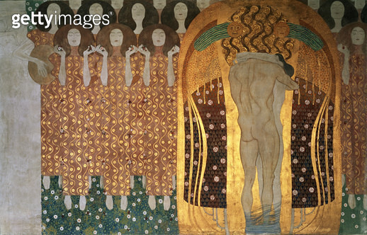 <b>Title</b> : Here's a Kiss to the Whole World!, detail of the Beethoven Frieze, 1902 (casein, gold leaf, semi-precious stones, mother-of-pear<br><b>Medium</b> : mixed media on stucco<br><b>Location</b> : Osterreichische Galerie Belvedere, Vienna, Austri - gettyimageskorea