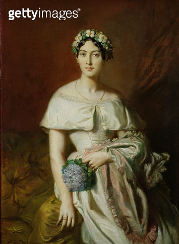 <b>Title</b> : Mademoiselle Marie-Therese de Cabarrus, 1848 (oil on canvas)<br><b>Medium</b> : oil on canvas<br><b>Location</b> : Musee des Beaux-Arts, Quimper, France<br> - gettyimageskorea