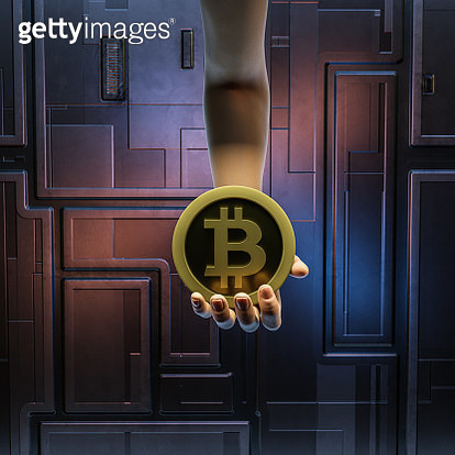 Bitcoin in hand hanging from top. Coin with letter B against abstract futuristic background. - gettyimageskorea