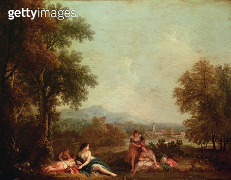 Classical figures in an Italian landscape - gettyimageskorea
