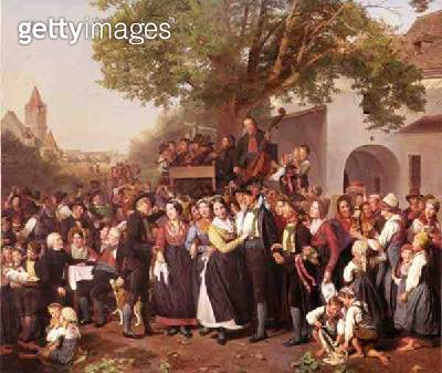 Peasant Wedding in Lower Austria (oil on canvas) - gettyimageskorea