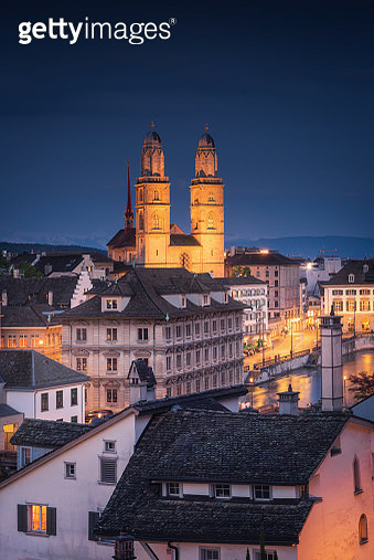 Cityscape Downtown and Business Financial of Zurich City at Twilight Sunset, Beautiful Scenery View of Architectural Old Town City of Zurich, Switzerland. Europe Travel Destination and Vacation Time - gettyimageskorea