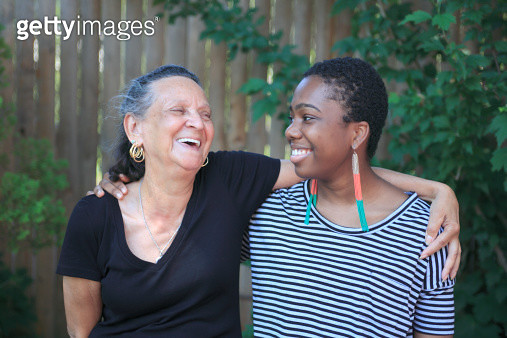 Grandmother with teenage granddaughter - gettyimageskorea
