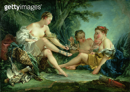 <b>Title</b> : Diana after the Hunt, 1745 (oil on canvas)<br><b>Medium</b> : oil on canvas<br><b>Location</b> : Musee Cognacq-Jay, Paris, France<br> - gettyimageskorea