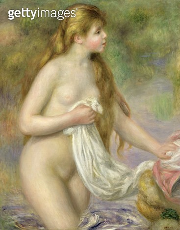 <b>Title</b> : Bather with long hair, c.1895 (oil on canvas)<br><b>Medium</b> : oil on canvas<br><b>Location</b> : Musee de l'Orangerie, Paris, France<br> - gettyimageskorea