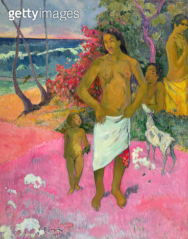 <b>Title</b> : A Walk by the Sea, or Tahitian Family, 1902 (oil on canvas)Additional InfoPromenade au Bord de la Mer;<br><b>Medium</b> : oil on canvas<br><b>Location</b> : Private Collection<br> - gettyimageskorea