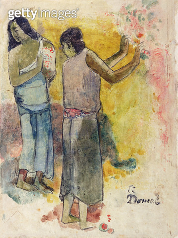 <b>Title</b> : Two Figures, Study for 'Faa Iheiche', 1898 (w/c and pen on paper)<br><b>Medium</b> : watercolour and pen on paper<br><b>Location</b> : Private Collection<br> - gettyimageskorea