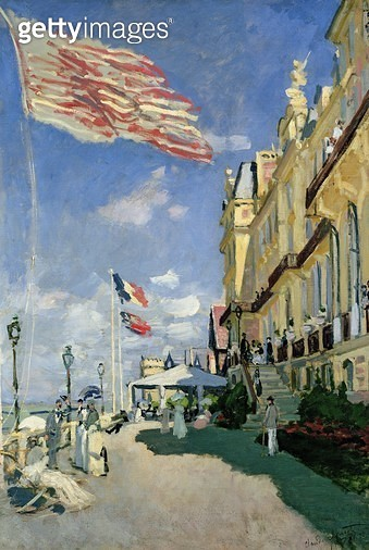<b>Title</b> : The Hotel des Roches Noires at Trouville, 1870 (oil on canvas)<br><b>Medium</b> : oil on canvas<br><b>Location</b> : Musee d'Orsay, Paris, France<br> - gettyimageskorea