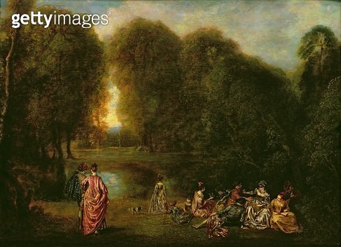 <b>Title</b> : A Meeting in a Park (oil on panel)<br><b>Medium</b> : oil on panel<br><b>Location</b> : Louvre, Paris, France<br> - gettyimageskorea