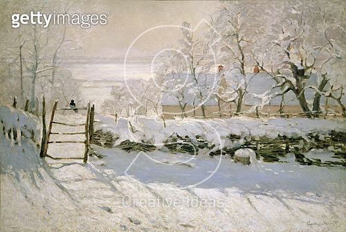 <b>Title</b> : The Magpie, 1869 (oil on canvas)<br><b>Medium</b> : oil on canvas<br><b>Location</b> : Musee d'Orsay, Paris, France<br> - gettyimageskorea