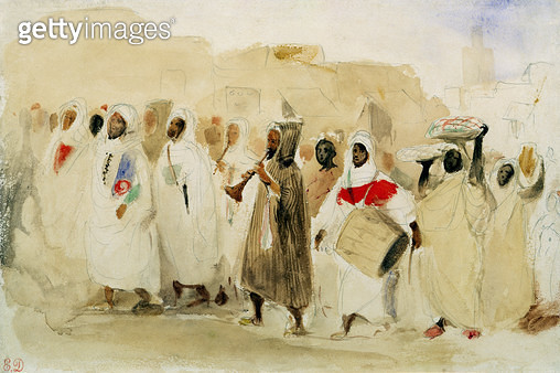 <b>Title</b> : Procession of Musicians in Tangier (w/c & pencil on paper)Additional InfoProcession de musiciens a Tanger;<br><b>Medium</b> : watercolour and pencil on paper<br><b>Location</b> : Private Collection<br> - gettyimageskorea