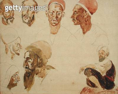 <b>Title</b> : Sketches of Heads (w/c on paper)<br><b>Medium</b> : watercolour on paper<br><b>Location</b> : Private Collection<br> - gettyimageskorea
