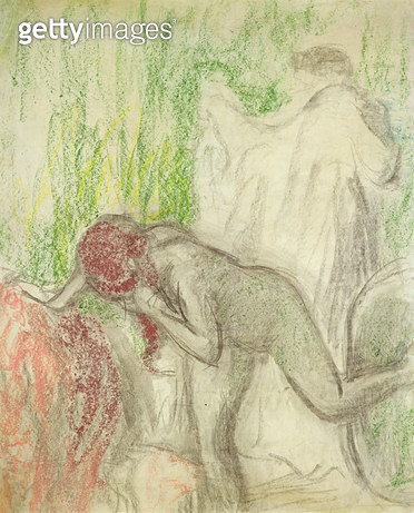 <b>Title</b> : Nude getting out of the Bath (pastel on crayon)<br><b>Medium</b> : pastel and crayon<br><b>Location</b> : Private Collection<br> - gettyimageskorea